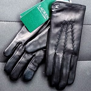 Ralph Lauren Lined Leather Touch Screen Gloves NWT
